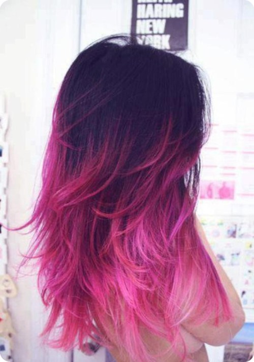 Stylish-Stars-Hairstyles-Black-Ombre-Hair-Color-Hair-Trend-for-Summer-2013-black-to-pink1