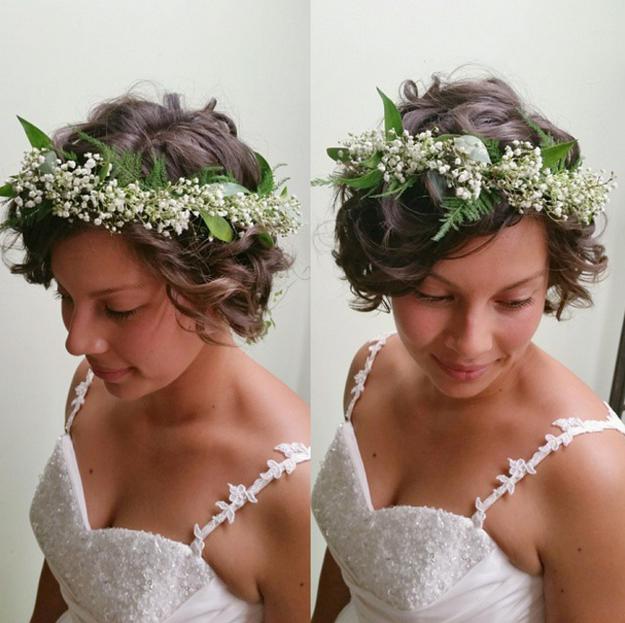 свадебные прически на короткие волосы: фото 20