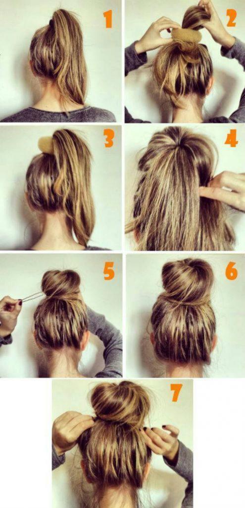 Как сделать пучок на голове. фото