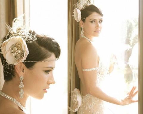 свадебные прически на короткие волосы: фото 35