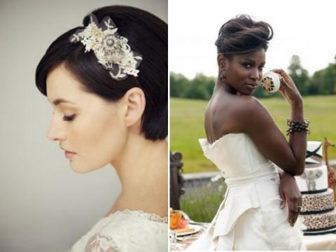 свадебные прически на короткие волосы: фото 44