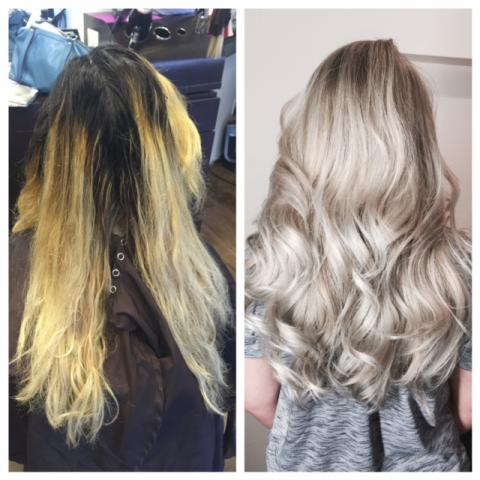 осветление волос желтый пигемент