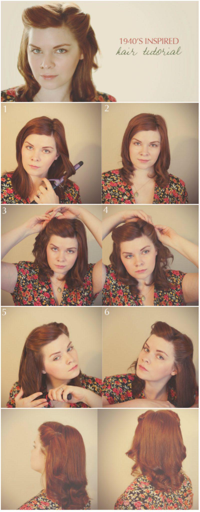 прическа 40-х для коротких волос