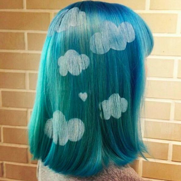 рисунки на волосах: облака