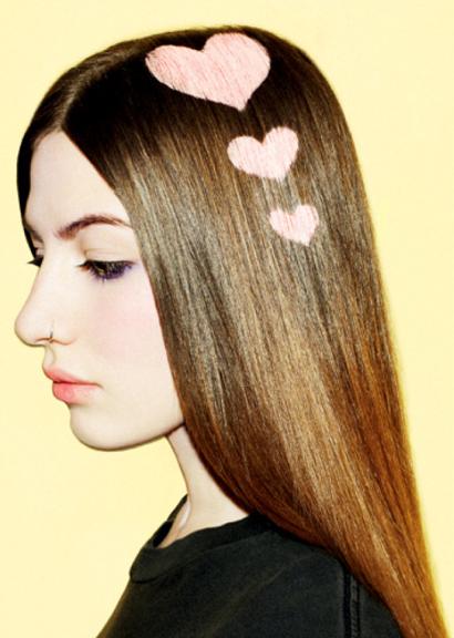 рисунки на волосах: сердце