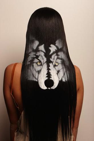 рисунки на волосах: волк