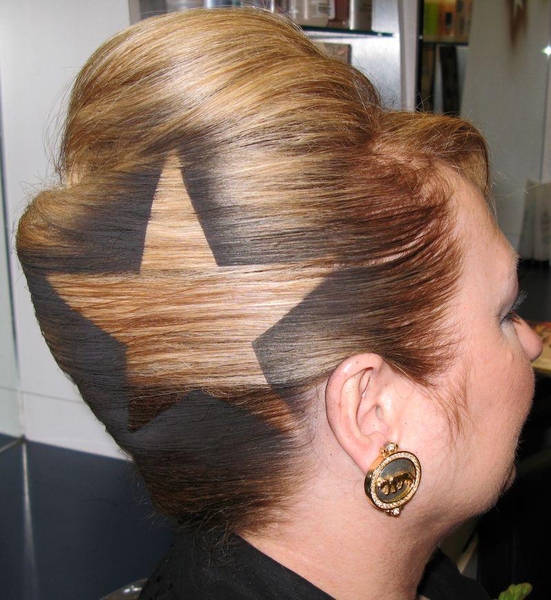 рисунки на волосах: звезды