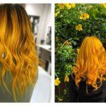 горчичный блонд на длинных завитых волосах
